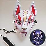 WYCY Led Light UP Máscara de Zorro Línea de neón Accesorios de Disfraces de Halloween Máscara Brillante Inducción Drift Máscara Controlador Flash con música para Fiesta Cosplay (Púrpura)